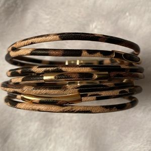Jewelry - LEOPARD and GOLD TONE MAGNETIC 7 LAYERED BRACELET